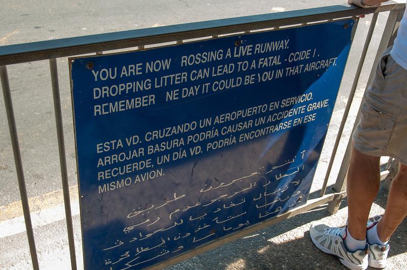 Warning sign at the runway in Gibraltar