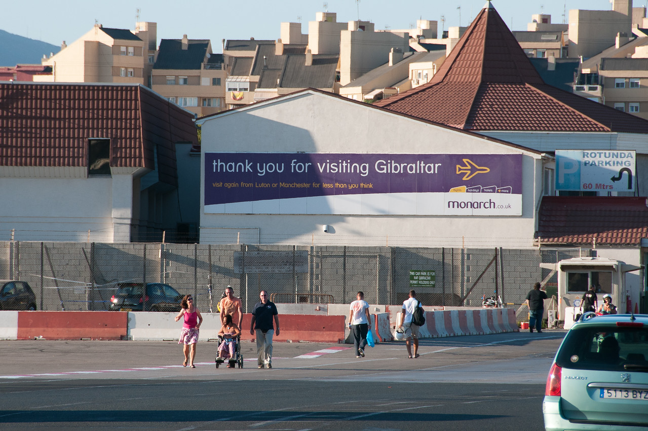 'Thank You' sign for tourists in the airport - Gibraltar