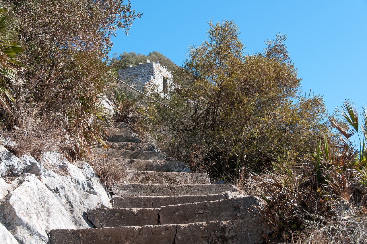 Stone stairway in the cliffs of Gibraltar