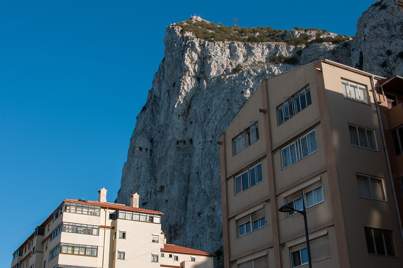 Shot of buildings and the mountain cliff - Gibraltar