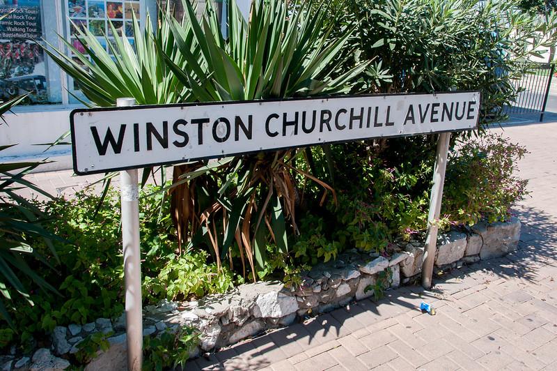 Sign at Winston Churchill Avenue in Gibraltar