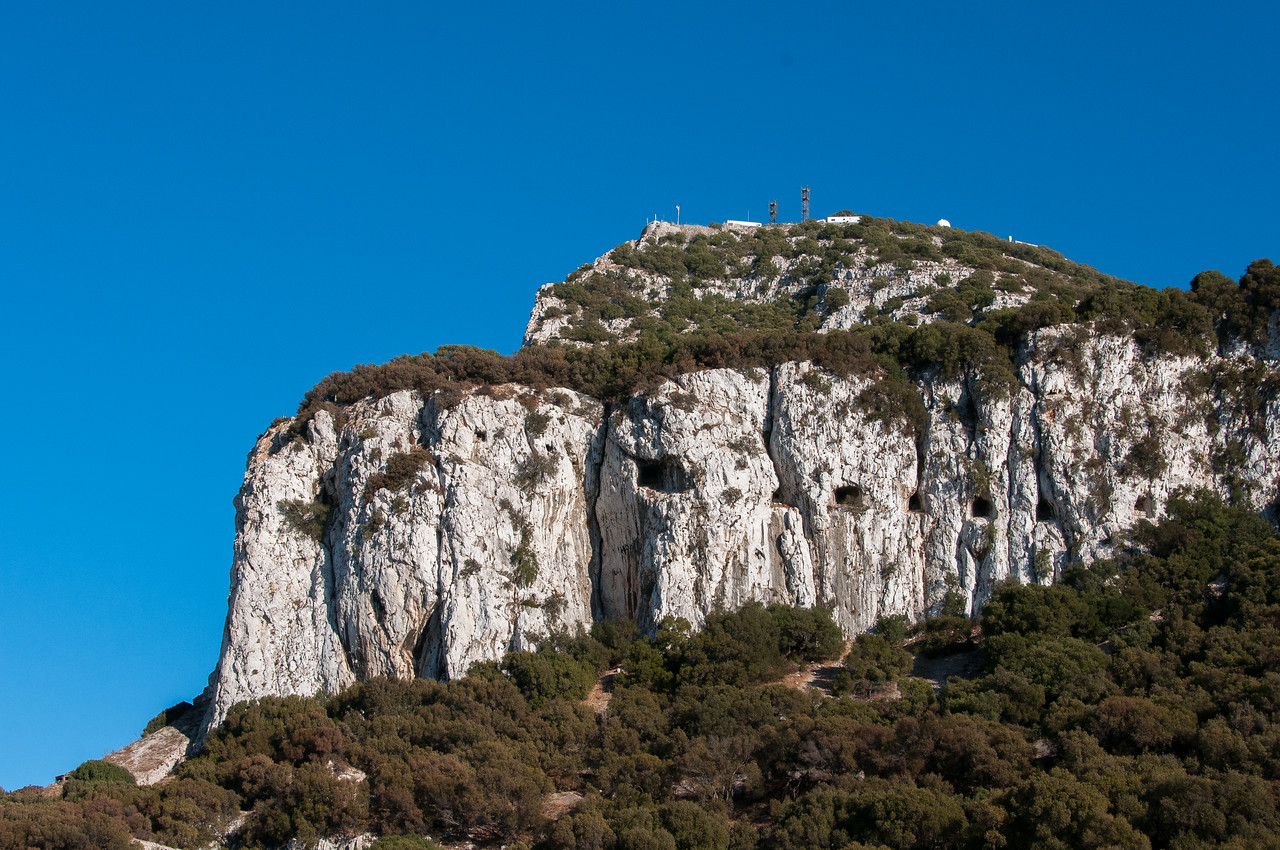 Beautiful view of the lush mountain cliffs in Gibraltar