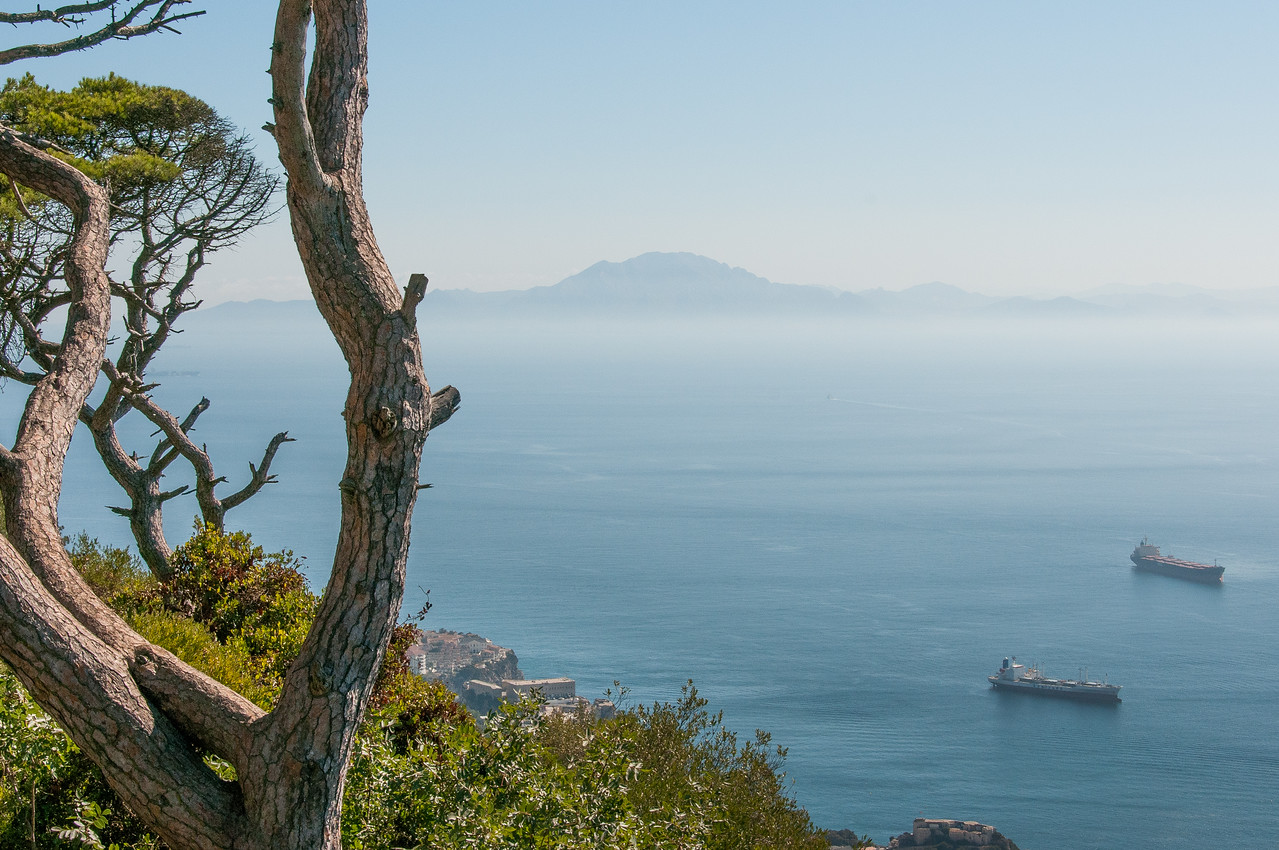 Overlooking view of the sea and mountain silhouette in Gibraltar
