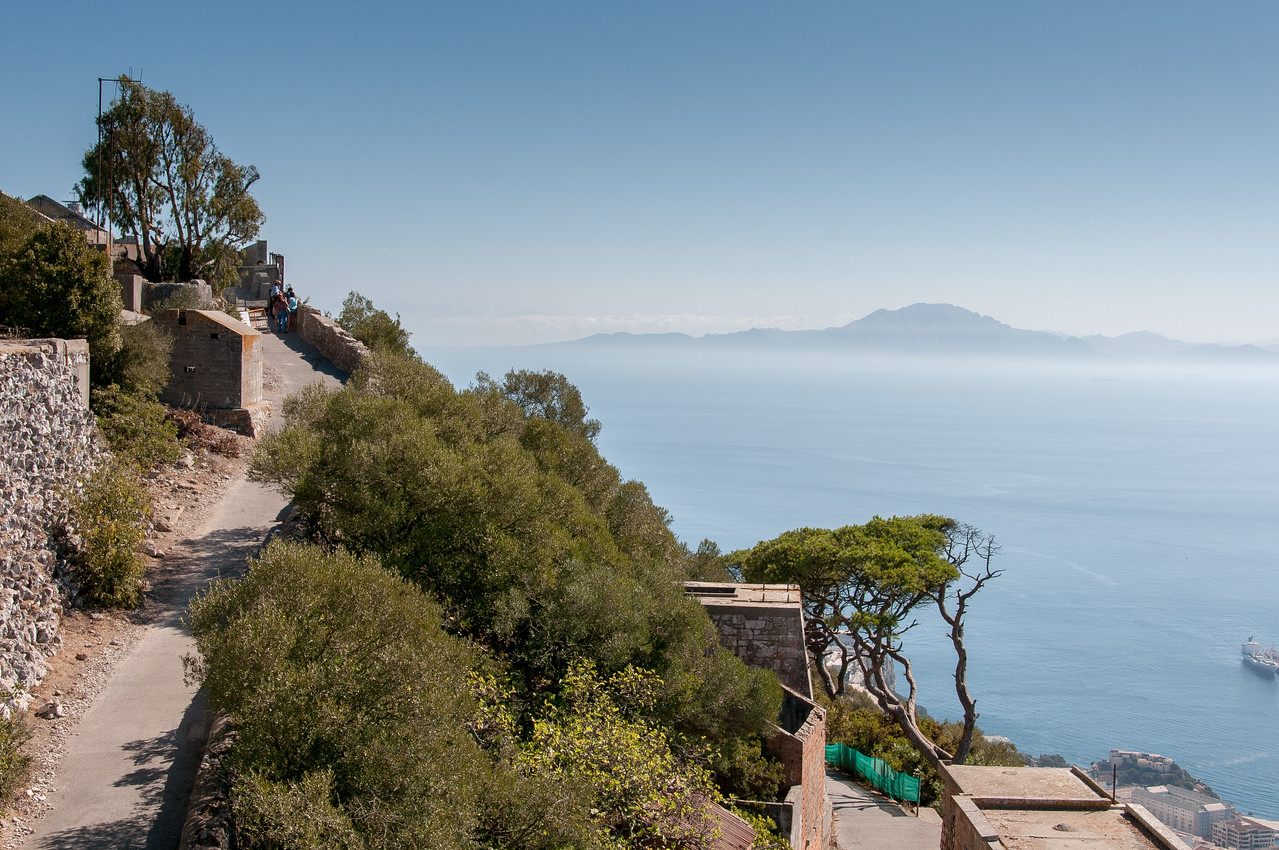 Paved path along a steep cliff in Gibraltar