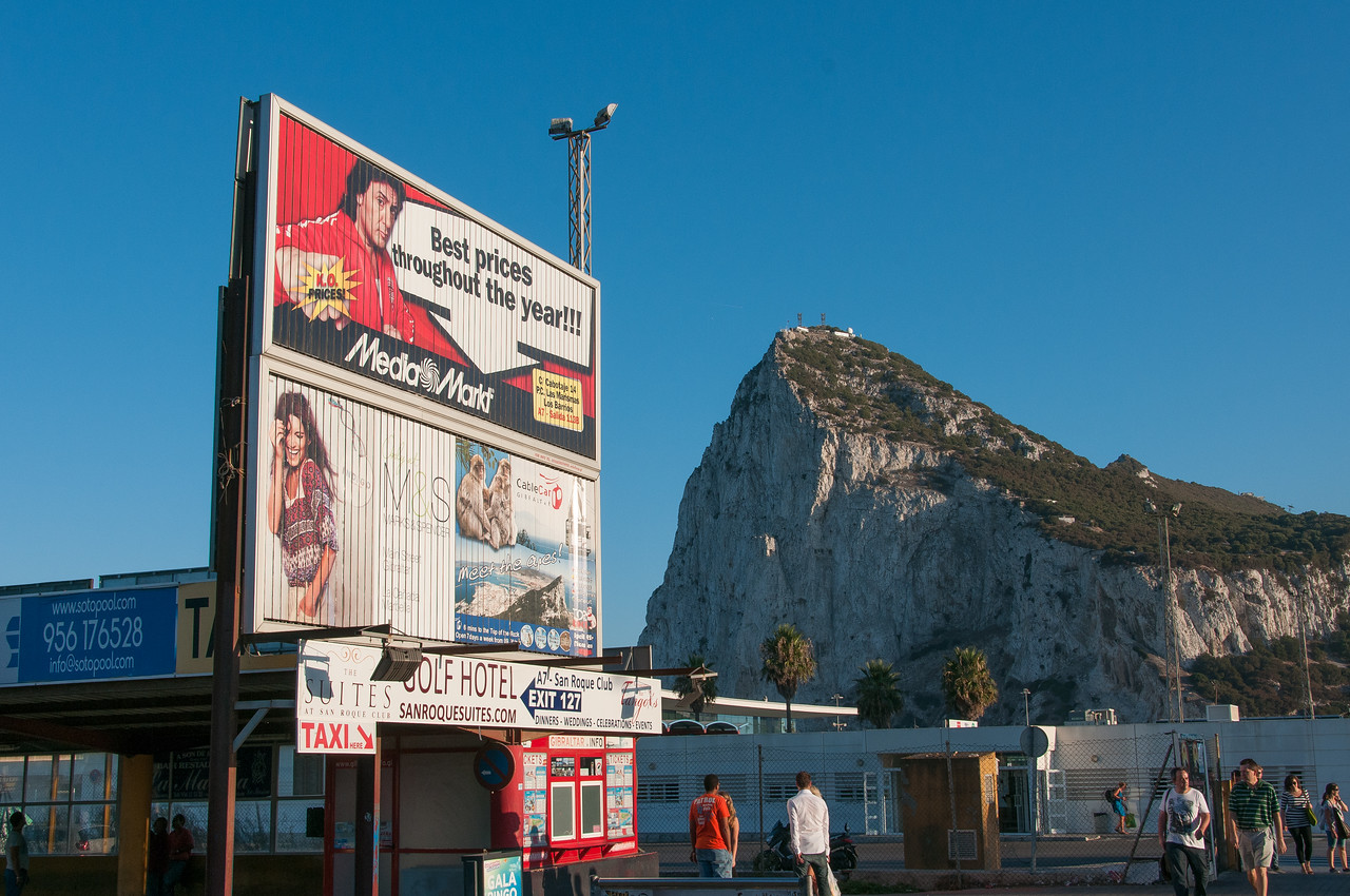 Billboard ads near the airport runway in Gibraltar