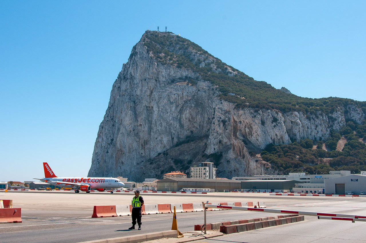 Wide shot of the quiet runway in the airport - Gibraltar