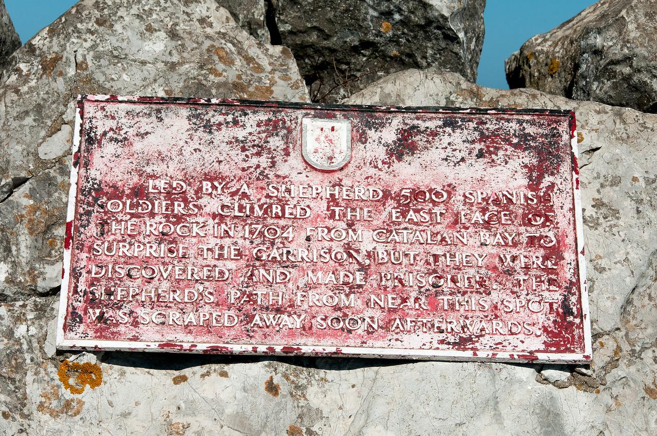Memorial sign along the cliff pathwalk in Gibraltar