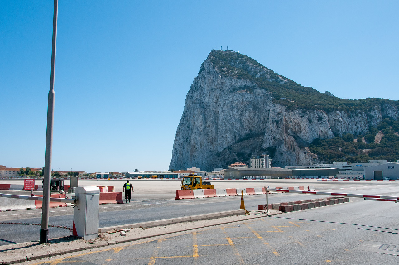 Busy personnel manning the airport runway in Gibraltar