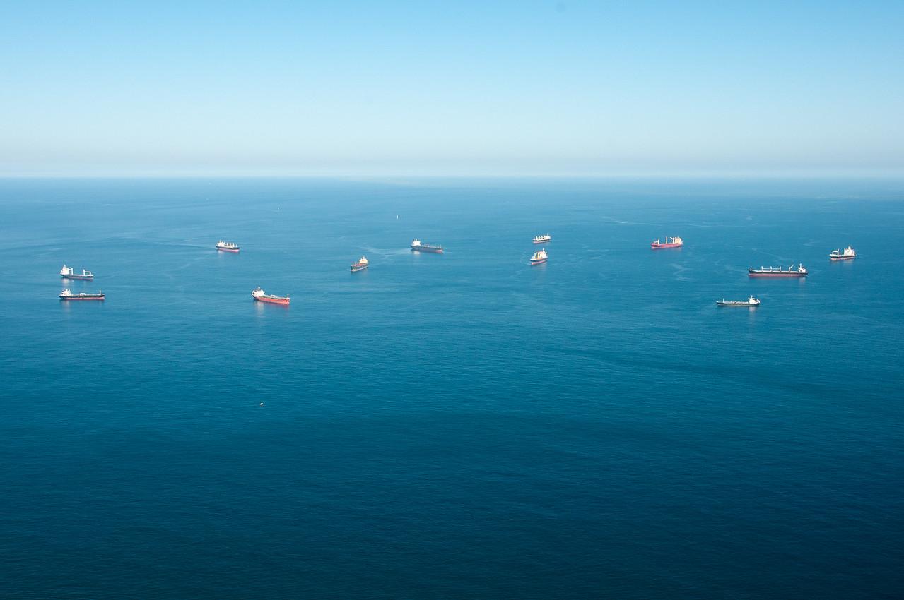 Boats cruising the sea in Gibraltar
