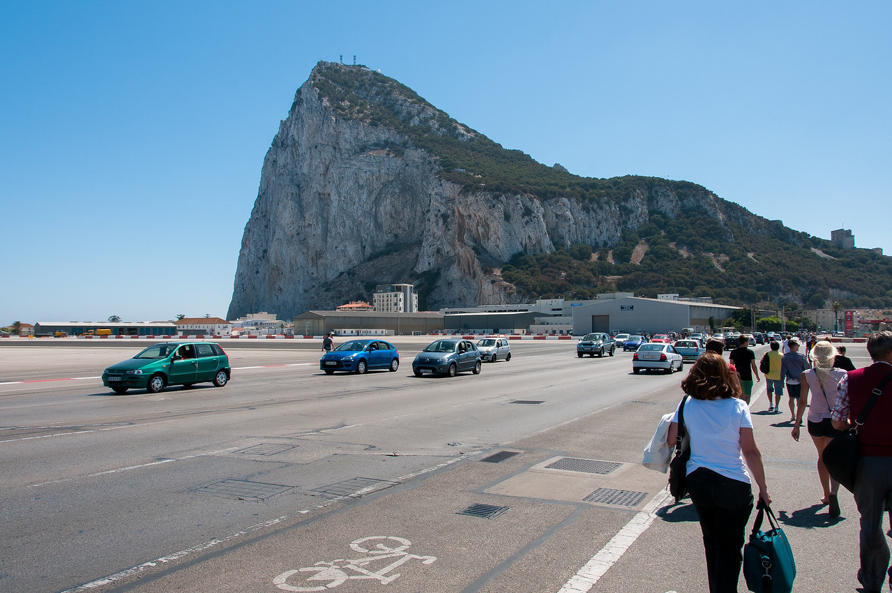 Busy foot traffic from tourists in the airport runway - Gibraltar