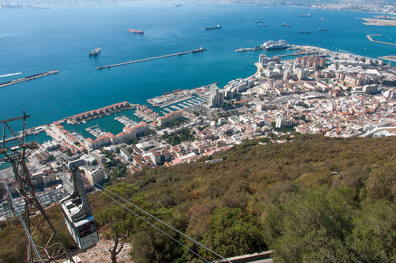 View of the city skyline from above in Gibraltar