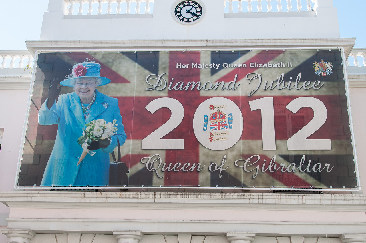 Closer shot of the billboard celebrating Queen Elizabeth of Britain - Gibraltar