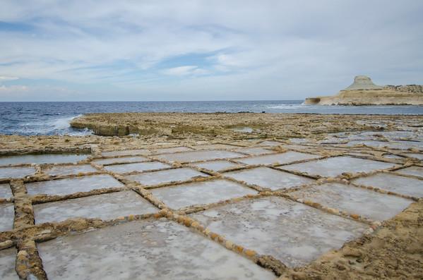 Qbajjar Bay salt pans, Gozo, Malta
