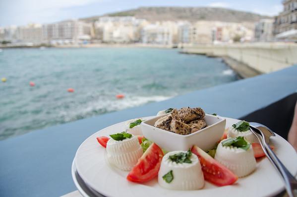 Gozitan cheeses on the waterfront, Gozo, Malta
