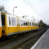 Tyne & Wear Metro Car 4087 in an experimental livery at Walkergate.