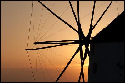Windmill at sunset, Oia