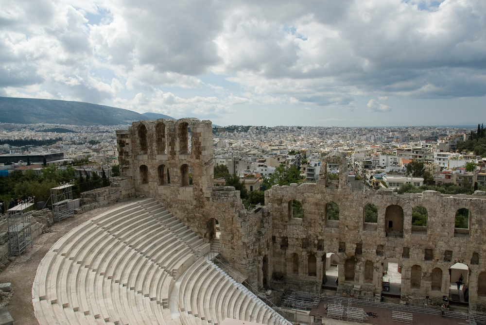 Overlooking The Odeon of Herodes Atticus from The Acropolis in Athens, Greece