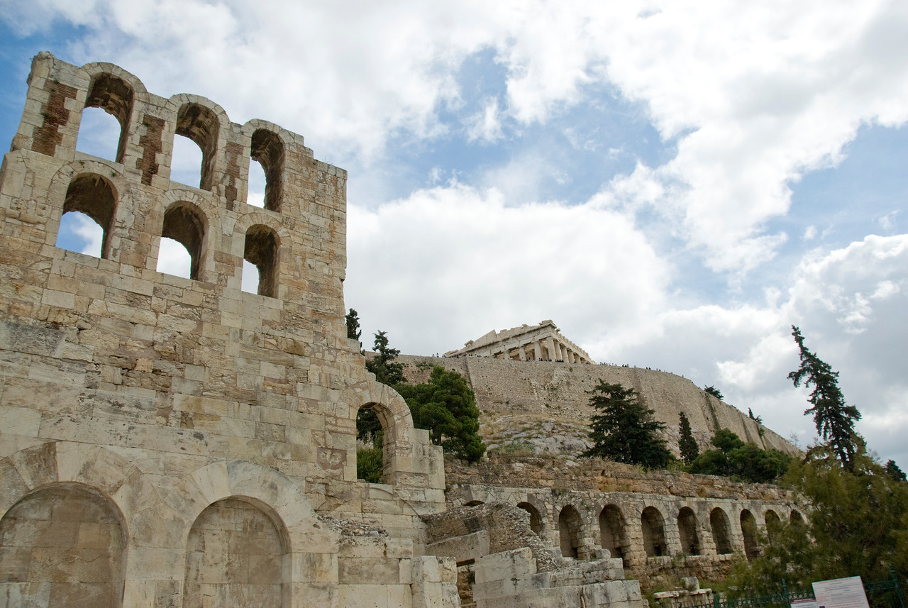 Walls and ruins of the Acropolis of Athens in Greece