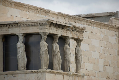 The famed Caryatid statues at Acropolis of Athens in Greece