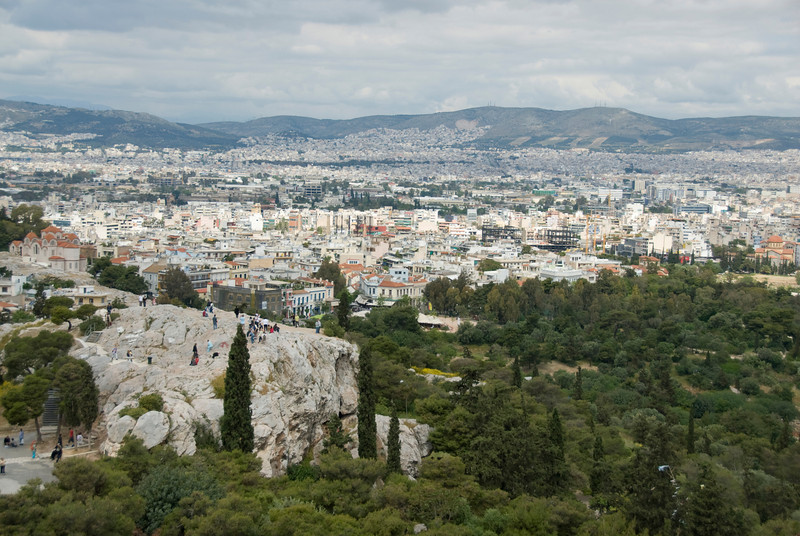 Overlooking view of the city skyline in Athens, Greece