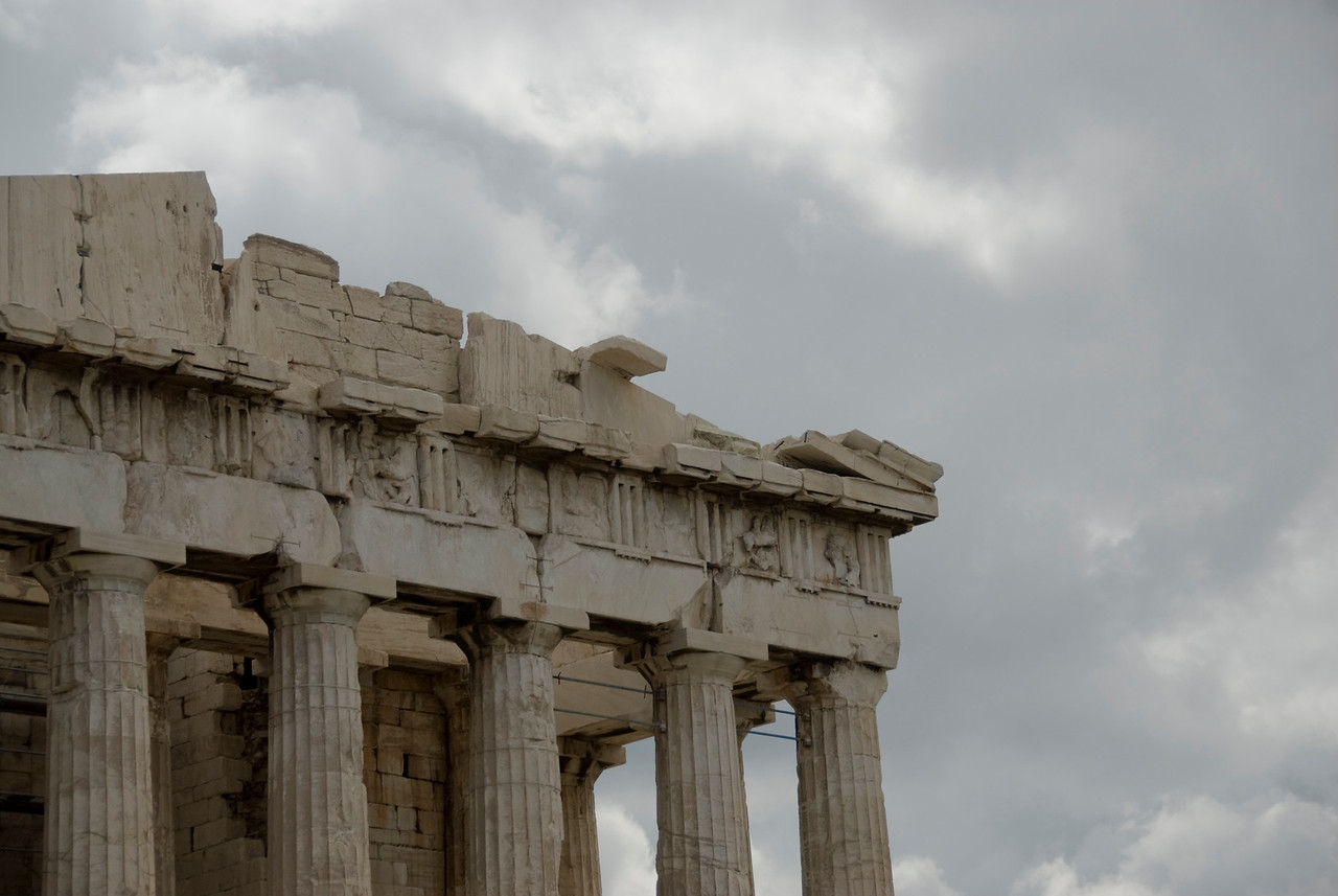 Details of the pillars and ruins at Acropolis of Athens in Greece