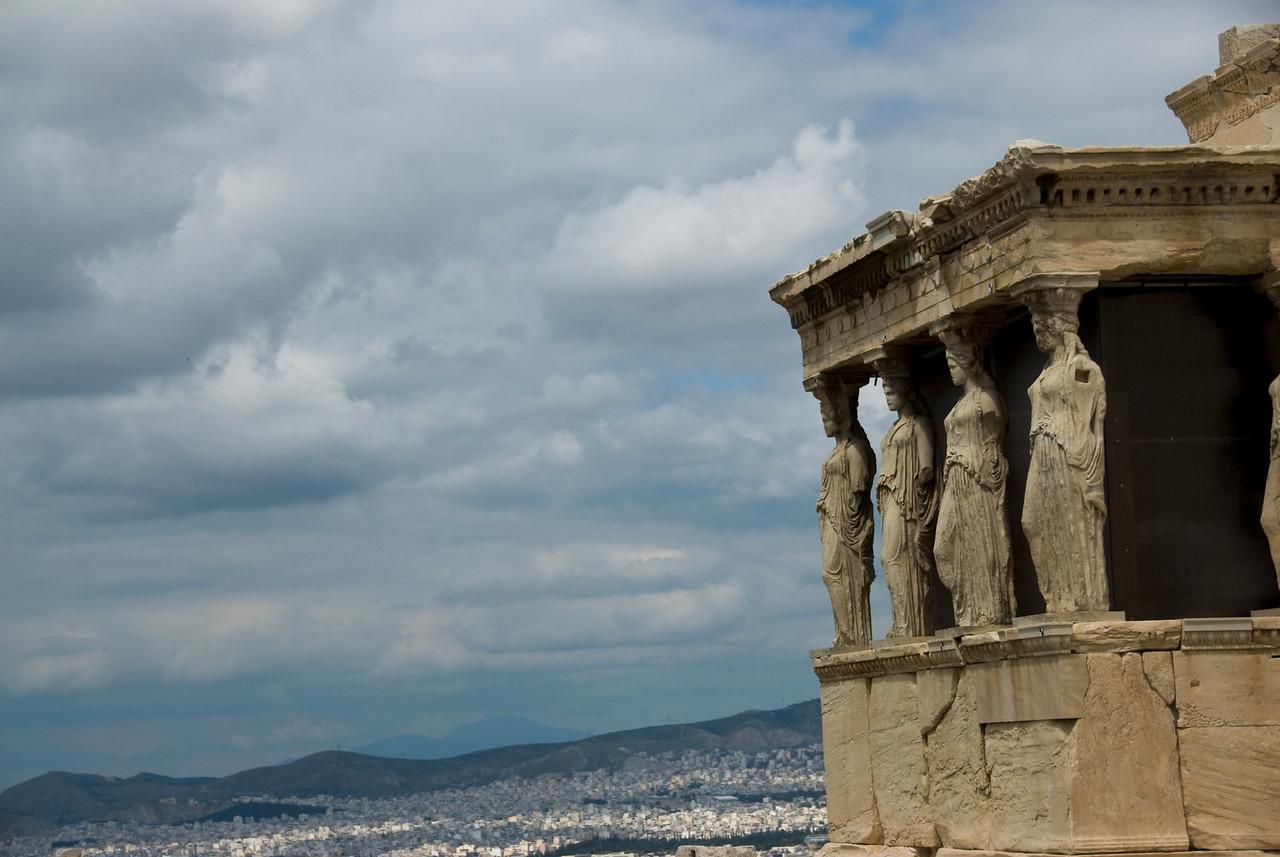 Caryatid as pillars of the Acropolis of Athens in Greece
