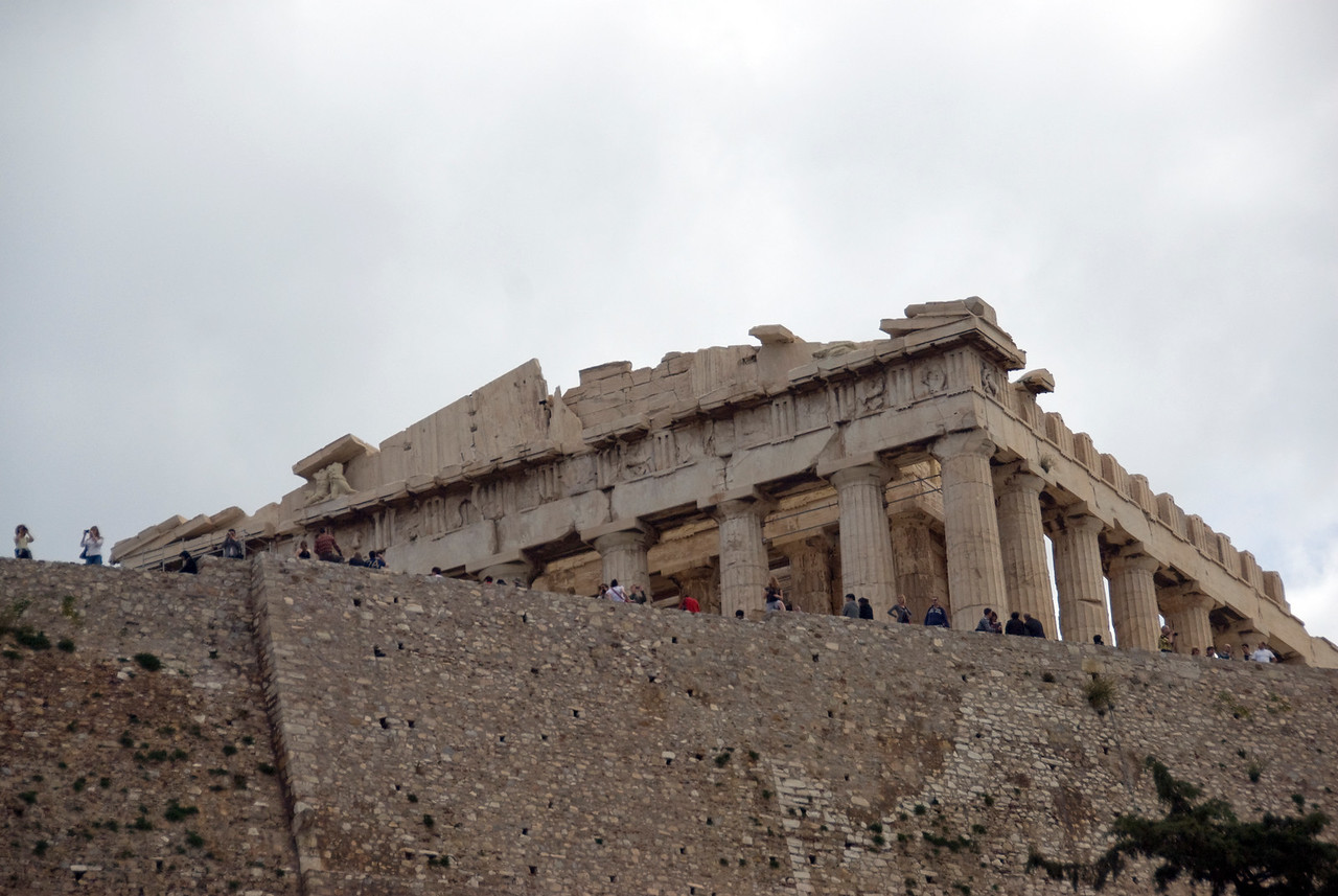 Tourists outside the Acropolis of Athens - Greece