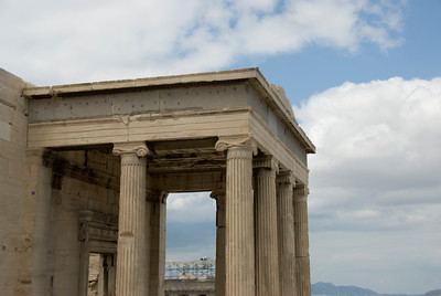 The column of pillars at the Acropolis of Athens in Greece