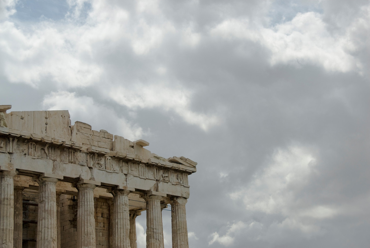 Details of the ruins against clear sky in Acropolis of Athens in Greece