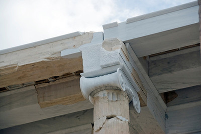 Fresh paint on the restored pillars of Acropolis of Athens in Greece