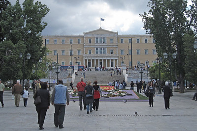 Street scene in Syntagma Square, Athens
