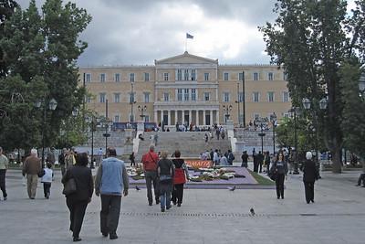 Street scene in Syntagma Square, Athens