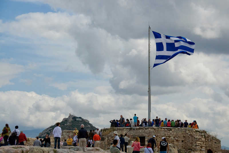 National flag waving at the Acropolis of Athens in Greece