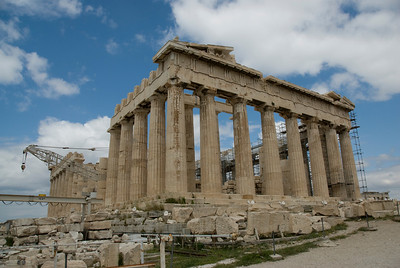 Ongoing restoration work at the Acropolis of Athens in Greece