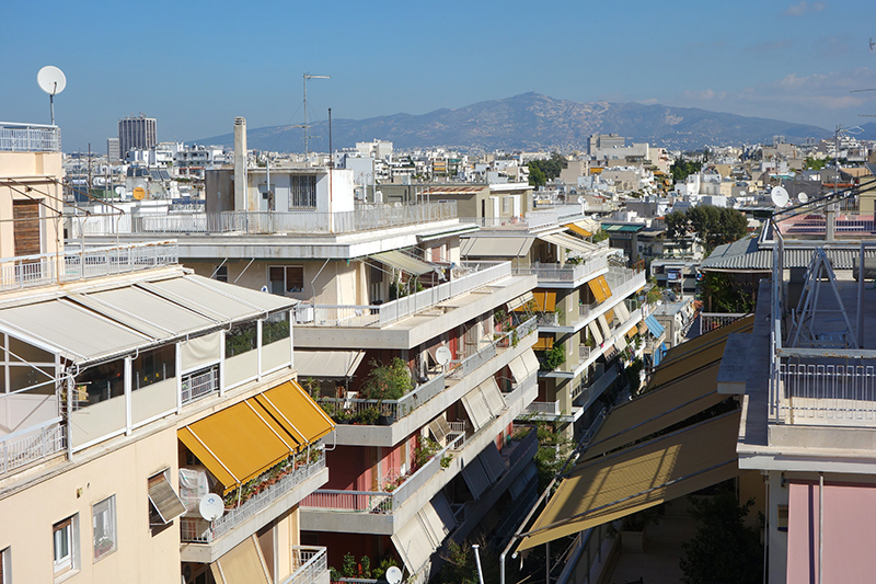 Athens residential neighbourhood, with large balconies.