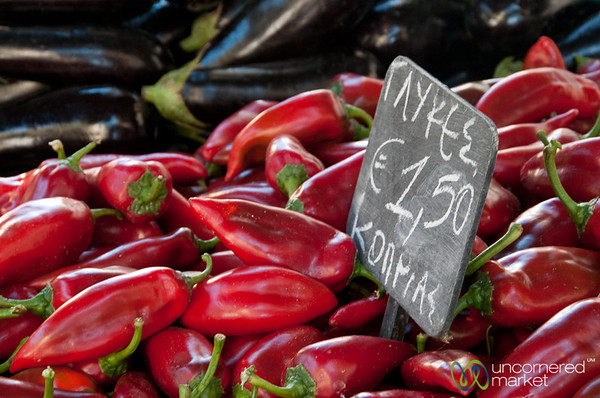 Piles of Peppers at Heraklion Market - Crete, Greece