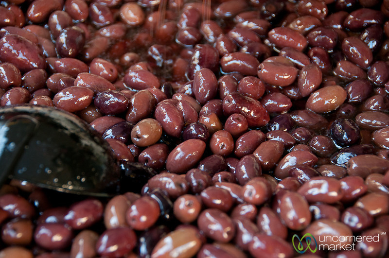 Black Greek Olives at Heraklion Market - Crete, Greece