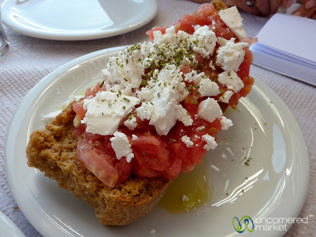 Dakos (dried bread topped with tomatoes) at Lunch - Crete, Greece