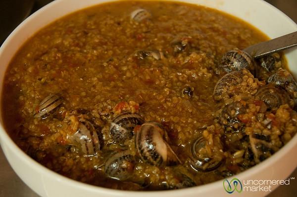 Cretan Dinner, Snails with Barley - Apostoli, Crete