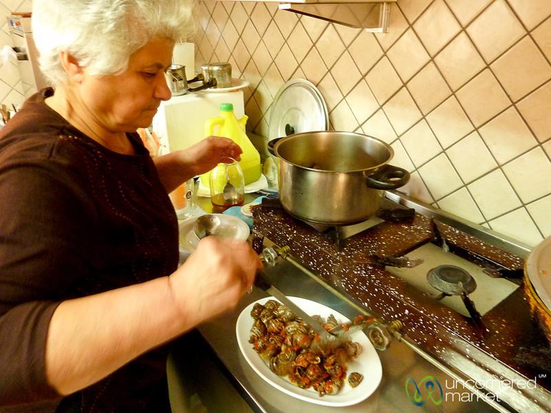 Cooking Snails on Crete - Apostoli, Crete