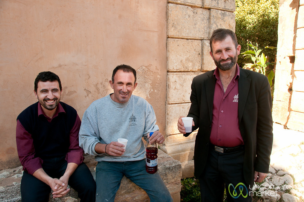 Wine with Caretakers of Arkadi Monestary - Crete, Greece