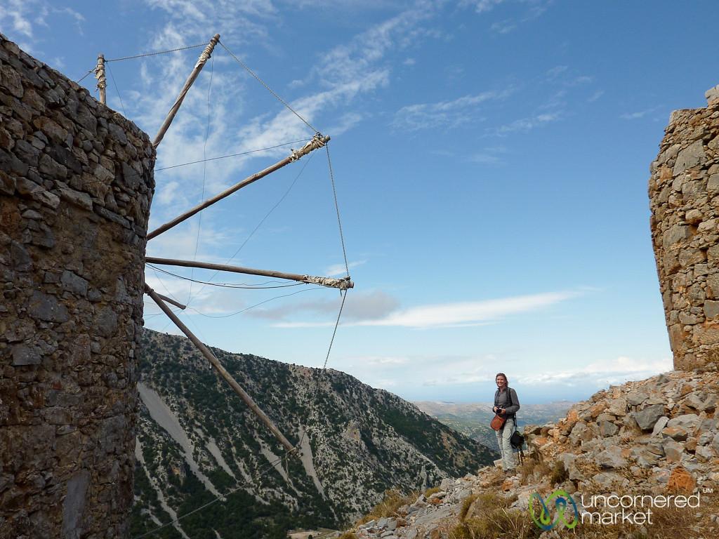 Audrey with Ancient Venetian Windmills - Lassithi, Crete