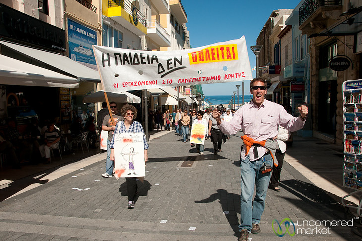 Dan and University Demonstrators - Crete, Greece