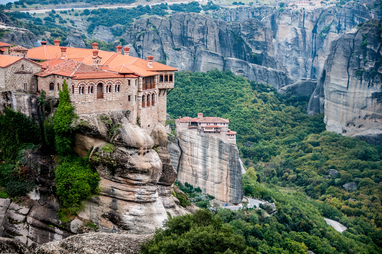 One of the monasteries of Meteora perched on a sandstone tower.