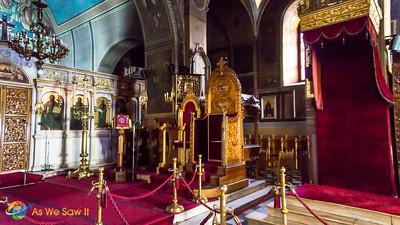 Throne, interior of Saint George Cathedral, Nafplio