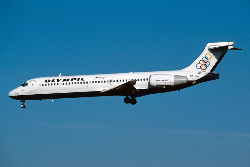 """SX-BOB Boeing 717-2K9 """"Olympic Aviation"""" c/n 55053 Brussels/EBBR/BRU 23-04-04 (35mm slide)"""