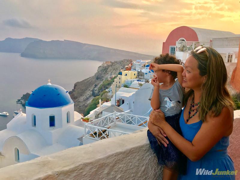 santorini with kids - family travel in Oia