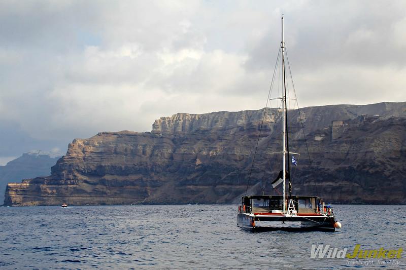 santorini with kids - sailing in the caldera
