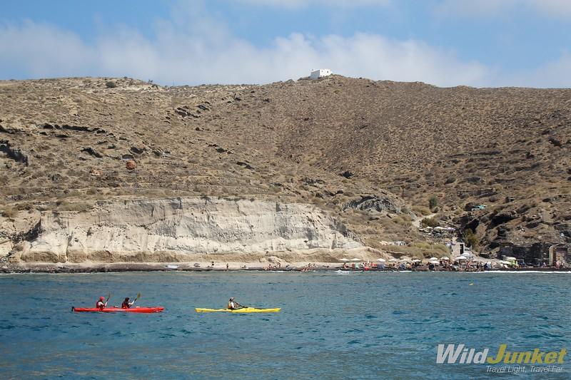 santorini with kids - sea kayaking