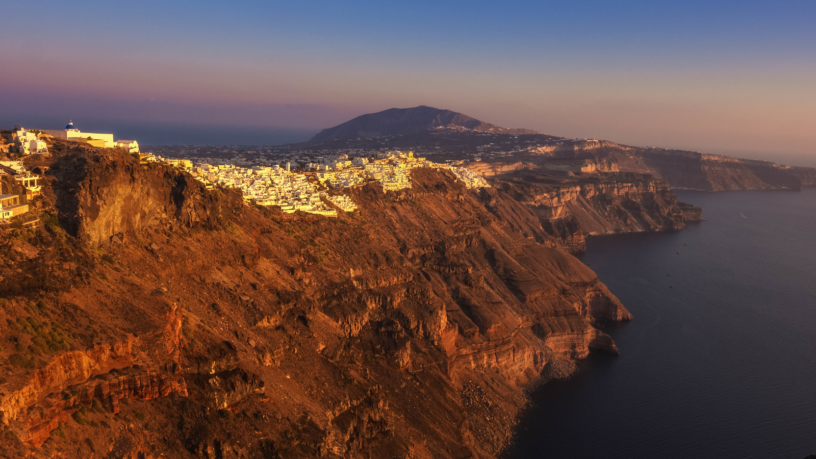 Looking over the main city of Fira at sunset.